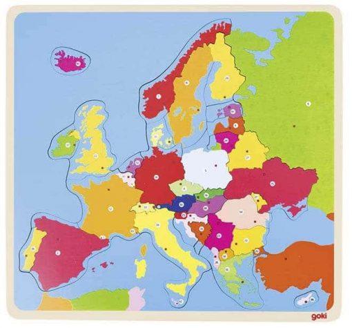Lerne die Europa-Karte mit dem Holzpuzzle von goki kennen.