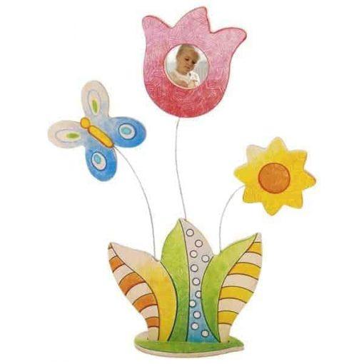 Großeltern beschenken ist ganz einfach. Die Blumen werden vom Kind selbst bemalt und ihn den Bilderrahmen kommt ein Foto deines Kindes.